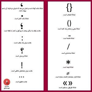 برخی علائم رایج در زبان فارسی